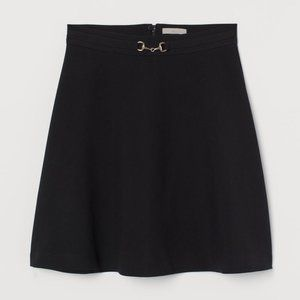 H&M Flared Skirt with Decorative Metal Buckle